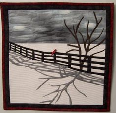 Winter Snow Quilted Small Landscape Quilt by SoftXpressionsquilts, $60.00