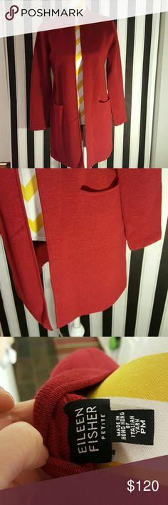 Eileen Fisher red Italian wool long sweater Eileen Fisher red Italian wool long sweater   Petite Medium   In great condition Eileen Fisher Sweaters