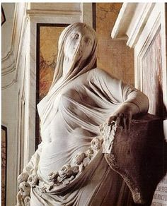 HOW does a sculptor create the appearance of sheer, soft  fabric with solid stone??    Antonio Corradini, La Pudicizia (Modesty), 1752.