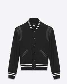 Saint Laurent Classic Teddy Jacket In Wool Gabadine and Leather