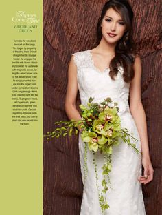 Green hydrangeas, green roses, and aspidistra leaves make up this beautiful bouquet     #wedding #bride #flowers #floralarrangements