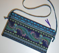Quilted Evening Bag, Ornate Floral Envelope-Style Shoulder Bag with Adjustable Strap, Purple Turquoise Gold, Quiltsy Handmade by VillageQuilts on Etsy