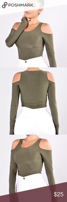 Fashion Nova olive green bodysuit Size small but would fit extra small. I just got it and I love it but it's too tight in the arms (I lift weights) and they don't take returns for bodysuits so I'm selling here! Snaps in crotch. Cheeky bottom Fashion Nova Other