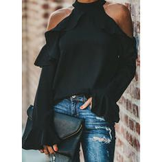 Solid Lace V-neck Long Sleeves Casual Elegant Blouses - Blouses - veryvoga Spring Fashion Casual, Blouse Online, Types Of Collars, Color Negra, Shirt Blouses, Fit And Flare, Hollister, Casual Shirts, Long Sleeve