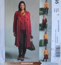 Uncut Misses Unlined Collar Front Drape Jacket Pullover Top Elastic Waist Skirt Gaucho Pants Size XS S M 4 6 8 10 12 14 Sewing Pattern Easy