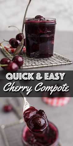 This quick and easy Cherry Compote takes almost no time to cook and is the perfect topping to spread over ice cream, cheesecake, even oatmeal. Cherry Recipes, Fruit Recipes, Sweet Recipes, Dessert Recipes, Recipes With Cherries, Diabetic Recipes, Cherry Compote, Fruit Compote, Frozen Cherries