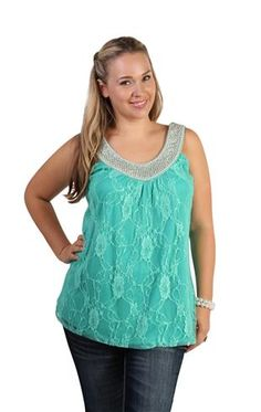 plus size lace tank top with pearl trim neckline