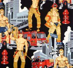 Alexander Henry - Pin-up Guys - Fireman 2 - Kim's Fabric OutletKim's Fabric Outlet Cat Fabric, Patchwork Fabric, Male Pinup, Fabric Outlet, Alexander Henry Fabrics, Cat Quilt, Art Of Man, Creative Artwork, Bear Art