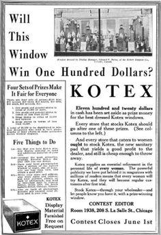 Northwestern Druggist 1922 Kotex advertisement for window display contest