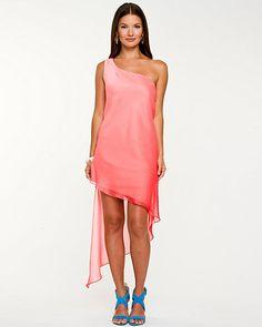 Ombré Asymmetrical Dress - A beautiful ombré effect defines this asymmetrical dress.