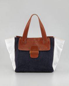 Denim-Paneled Tote Bag by Marc Jacobs at Bergdorf Goodman. Marc Jacobs Tote, Denim Handbags, Clothes Horse, White Leather, Fashion Bags, Purses And Bags, Shoulder Bag, My Style, 30th Birthday