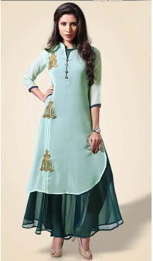 ad3fbb2b2d Aloe Vera Green Color Georgette Straight Style Readymade Kurti |  FH610188749 Latest Fashion Readymade Kurtis Collection