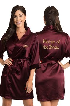 eaf311b75c Personalized Embroidered Monogram Mother of the Bride Satin Robe