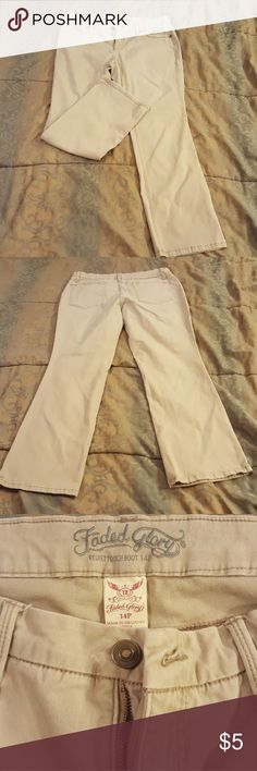 Khakis Great condition. Very soft. No fraying. There is a tiny ink stain on the back left pocket. Faded Glory Pants Boot Cut & Flare