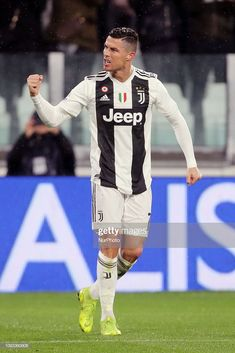 Cristiano Ronaldo of Juventus FC celebrates after scoring the his second goal during the serie A match between Juventus FC and Parma Calcio 1913 at Allianz Stadium on February 2019 in Turin, Italy. (Photo by Giuseppe Cottini/NurPhoto via Getty Images) Cristiano Ronaldo Juventus, Juventus Fc, Scores, Turin Italy, Virat Kohli, Celebrities, Boutique, Soccer Players, Saints