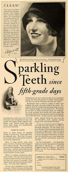 Love this 1928 print advertisement for Colgate Ribbon Dental Cream.