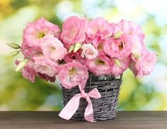 Bouquet of Eustoma flowers in wicker vase...