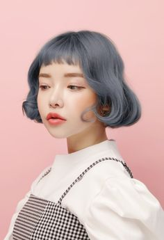 Gray hair girl | Cute bob | Korean girl | Inspiration for young adult character | World building inspiration