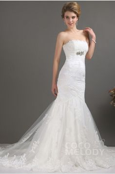 Delicate Trumpet-Mermaid Strapless Court Train Lace Fit and Flare Wedding Dress CWLT09003 #weddingdress #cocomelody