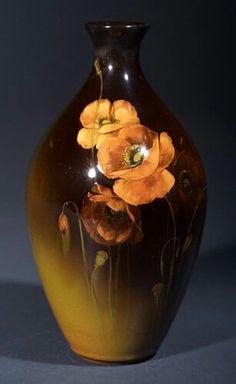 ~Rookwood~Artist: Albert R. Valentien~Circa 1896~Orange Poppies And Green Buds-Standard Glaze Vase~
