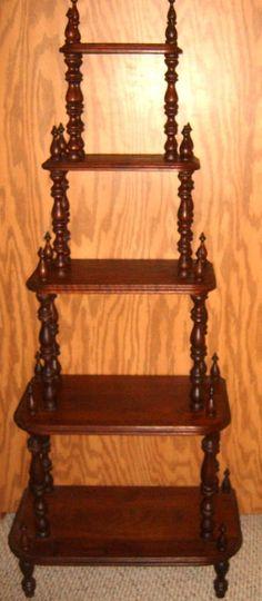 Vintage Wooden Tiered Shelf Ornate Curio Shelf by CissysCrafts