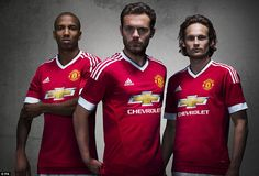 Team-mates Young, Mata and Blind pose together in the new United kit sponsored by adidas w...
