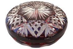 "Red Cut-Glass Powder Bowl  -  6.5""W x 2.5""H  -  OneKingsLane.com  -  ($299.00)  $189.00"