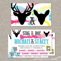 Stag and Doe Tickets  so cute!