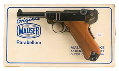 "A postwar Mauser Parabellum, made in the 1970s. It is a composite of mixed-style parts, with a P.08 frame but with a ""Swiss"" sideplate and safety lever."