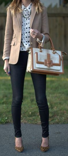 Adorable polka-dot blouse and nude blazer with black jeggings