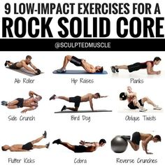 12 LOW-IMPACT EXERCISES FOR A ROCK SOLID CORE! You can improve your posture by strengthening the weak upper back muscles while stretching tight muscles in the chest shoulders lats and hips. As the upper back becomes stronger and the chest becomes Posture Exercises, Core Exercises, Upper Back Strengthening Exercises, Upper Back Stretches, Belly Exercises, Low Back Exercises, Upper Back Workouts, Lower Chest Exercises, Core Stretches