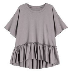 Short Sleeve Ruffle Hem T-Shirt Smashing (490 UYU) ❤ liked on Polyvore featuring tops, t-shirts, shirts, purple top, ruffle hem t shirt, purple tee, tee-shirt and short sleeve tops
