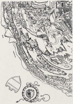 Publisher: Meldemann, Nikolaus, Title: »Der Meldeman-Plan« Belagerung der Stadt Wien, Detail [4/6], Date: 1529 Typography Prints, Planer, Medieval, Vintage World Maps, History, Knights, Illustration, City, Historia