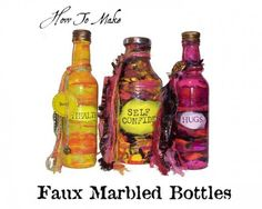How To Make Faux Marbled Glass Bottles by Lisa Volrath. Also has info on painting plastic and burning printing off metal lids. Very useful article.