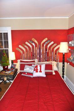 hockey bedroom ideas on pinterest hockey sticks hockey and hockey room. Black Bedroom Furniture Sets. Home Design Ideas