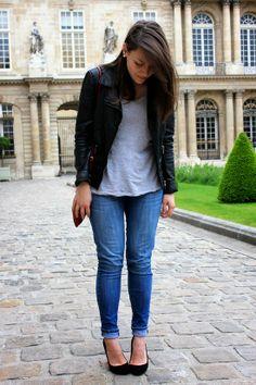C B C M G - Zara biker jacket - HM gray tshirt - Levis skinny jeans - Zara black heels - Mango crossbody bag