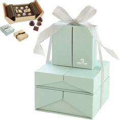 #Custom chocolate and ganache truffles are elegantly packaged inside Tiffany-esque #custom boxes. #epromos