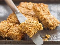 Jamie Oliver Flapjack recipe - must try - however add raisins, cranberries, seeds etc and drizzle with melted chocolate.