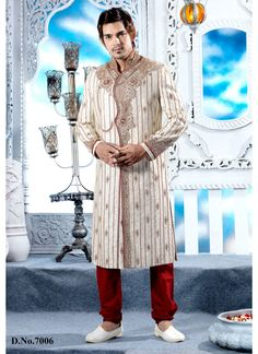 Cream color Brocate Wedding wear sherwani Shop Now : http://www.cfashionbazaar.com/