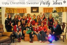 """Ugly Christmas Sweater Party Ideas {Girls' Night Out} from Serenity Now  Christy and Amanda are in here... Can u find them?Needing ideas for a FUN Ugly Christmas Sweater Party check out """"The How to Party In An Ugly Christmas Sweater"""" at Amazon.com"""