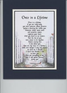"Amazon.com - ""Once In A Lifetime"" A Sentimental Gift For Husband, Wife, Girlfriend Or Boyfriend. Touching 8x10 Poem, Double-matted In Navy/W..."