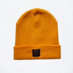 Winter beanie yellow gold autumn color hat