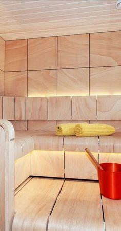 Valoisa sauna muotolauteilla Sauna Ideas, Truck Interior, Saunas, Beauty Spa, Bathrooms, Buildings, Wellness, Interiors, Spaces