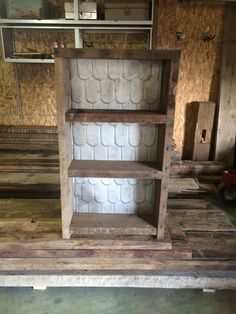 Barn wood shelf with metal roof backing
