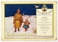 - Szilveszter 1941. Hotel Ritz Dunapalota. - Múzeum Antikvárium Hungary History, Heart Of Europe, Menu Restaurant, Minion, Budapest, The Past, Collections, Graphics, Invitations