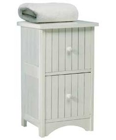 Tongue and Groove 2 Drawer Storage Unit - White.