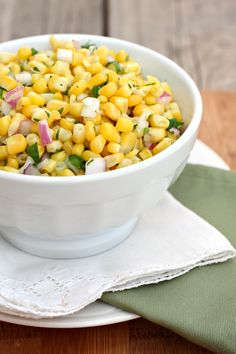 Fresh Corn Salsa recipe | so simple (with only five ingredients) but so delicious! It's great with tortilla chips or as a topping for your favorite tacos and burritos. - Foodista.com