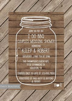 Couples or Coed Wedding Shower Invitation-Rustic I Do BBQ, Mason Jar, Wood, Printable