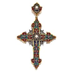 RENAISSANCE-REVIVAL GOLD, SILVER, DIAMOND, PEARL AND ENAMEL CROSS PENDANT, FRENCH, CIRCA 1870