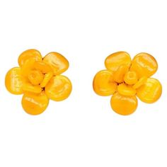 Pre-owned Camellia Earrings (1,117 CAD) ❤ liked on Polyvore featuring jewelry, earrings, yellow, yellow jewelry, chanel jewelry, preowned jewelry, chanel and yellow earrings